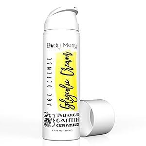 Body Merry Age Defense Glycolic Cream - Anti-Aging Facial Cream for Pore Control & Hyperpigmentation Treatment w Natural Glycolic Acid (10%) + Ceramides + Jojoba Oil