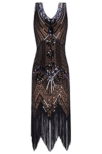 Metme Women's 1920s V Neck Beaded Fringed Gatsby Theme Flapper Dress for Prom (S, - Brown Gatsby