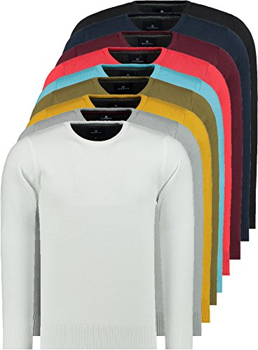 Barbons col Homme Rond Pour En Ou Col fit Pull Rouge Tricot Coton Avec Fin Modern De Supérieure Rond Qualité V Mélange 1qHr1