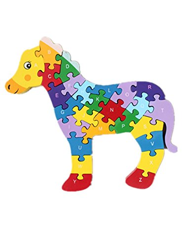 HIPGCC Wooden Jigsaw Puzzles Winding Horse Toys for Preschool Letter & Numbers Puzzles Educational Toys For Toddlers/Kids/Children/Boys/Girls (3 4 5 Year Old and Up)