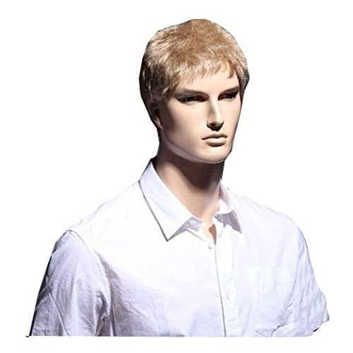 MELADY®(Free Cap) Fashion Casual Blonde Short Straight Synthetic Busiess Men Office Hair Replacement Wigs ()
