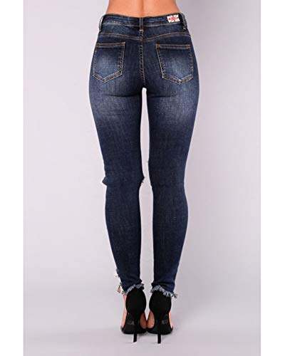 Leggings Eleganti Matita Nero Jeans Stretti Pantaloni Quge A Donna Blu Strappati EtqSxR