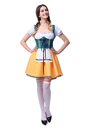 Gretchen Girl Adult Womens Plus Size Costumes (Womens Halloween Performance Cosplay French Apron Plus Size Maid Fancy Dress Costume (XX-Large, Green&Yellow))