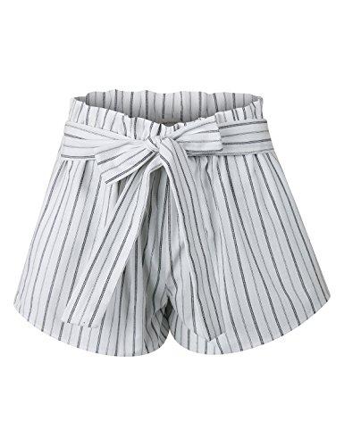 makeitmint Women's Pin Stripe Elastic High Waist Pocket Shorts w/Front Tie Belt YBS0017-WHITE-SML (Waist Short Stripe)