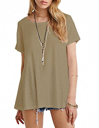 Essential Scoop Neck Short - Afibi Women's Basic Short Sleeve Scoop Neck Swing Tunic Loose T-Shirt (XX-Large, Khaki)
