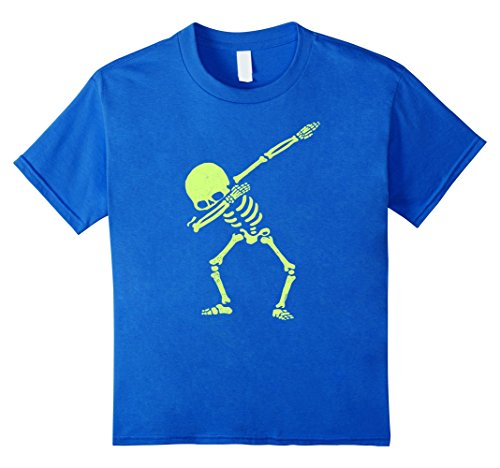 Kids Dabbing Skeleton Shirt Dab Hip Hop Skull Dabbin Glow Effect 8 Royal Blue (Dark Dance Costumes)