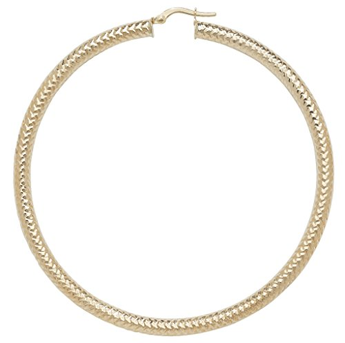 Or 9ct Coupe Diamant Boucles d'oreilles créoles 60mm