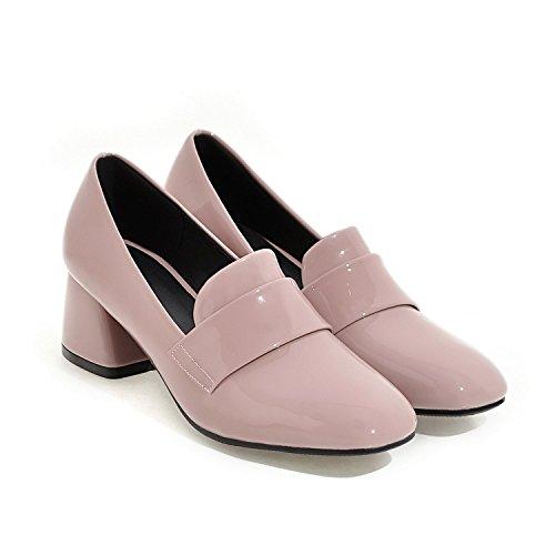 Neliön Naisten Kengät Kiiltonahka Toe Vaaleanpunainen Iso Mekko Pumput Nutsima Muoti Koko Korkokengät Xwq4XBg