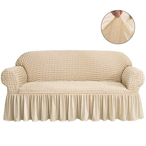 CHUN YI 1-Piece All-Purpose Universal Easy Fitted Sofa Couch Cover Stretchable High Elasticity Durable Furniture Protector 3 Seats Sofa Slipcover with Skirt (Sofa, Light Khaki) ()