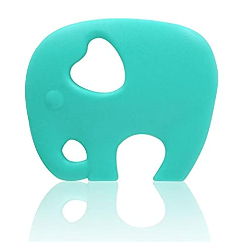AILAMS Elephant Baby Teether Ring,Food Grade Silicone BPA Free FDA Approved,Toddlers Teething Toy (Turquoise)