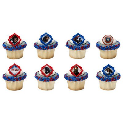 Captain America Divided Cupcake Rings - 24 ct