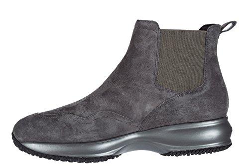 Hogan Wildleder Schnürboots Stiefeletten Damen Boots chelsea Grau