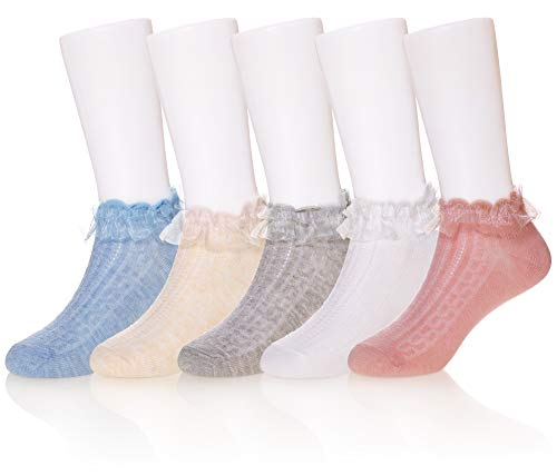 Eocom 5 Pack kids Girls boys Low Cut Cotton Soft Cartoon Cute Breathable Socks (Lace socks, 9-12 Years)