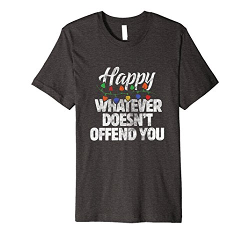 Mens Happy Whatever Doesn't Offend you t-shirt festive funny 3XL Dark - Christmas On War