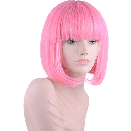 (Daiqi Pink Short Bob Wig with Bangs for Women 12'' Heat Resistant Synthetic Straight Wigs with Bangs Halloween Cosplay Party Wig Natural As Real Hair)