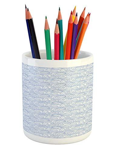 Ambesonne Art Nouveau Pencil Pen Holder, Vintage Pastel Toned Iris Blooms Flourishing Beauty Mother Earth Theme, Printed Ceramic Pencil Pen Holder for Desk Office Accessory, Baby Blue White