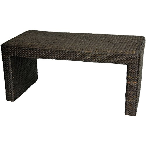 ORIENTAL FURNITURE Solid Durable Beautiful Natural Tropical Design, 36-Inch Woven Water Hyacinth Rattan Style Japanese Design Coffee Table