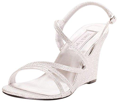 Davids Bridal Paige Shimmer Strappy Sandali Con Zeppa Stile 4176 Argento