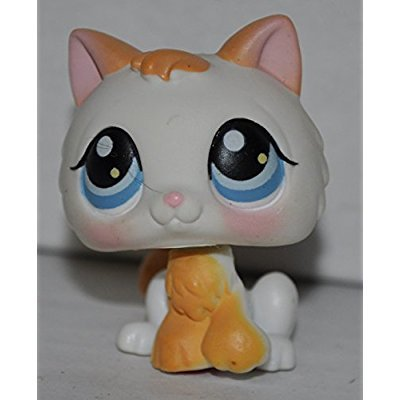 Kitten #134 (White, Blue Eyes, Brown Tips) - Littlest Pet Shop (Retired) Collector Toy - LPS Collectible Replacement Figure - Loose (OOP Out of Package & Print)