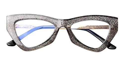 SOOLALA Womens Anti-Blue Light Triangle Reading Glass Fashion Eye Glass Frame, Gray, 2.75