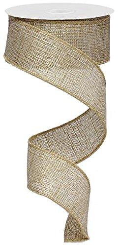 Open Weave Faux Linen Burlap Wired Edge Ribbon (1.5