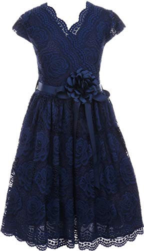 BNY Corner Flower Girl Dress Curly V-Neck Rose Embroidery Allover for Big Girl Navy 16 JKS.2066 -