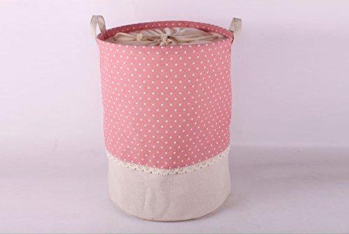 aufbewahrung, Soriace premium foldable cotton line Wäschekorb Klapp Kinder Spielzeug organizer Spielzeug aufbewahrung Spielzeug Warenkorb Kleidung Halter wäschebox mit Deckel gepunktet, rosa