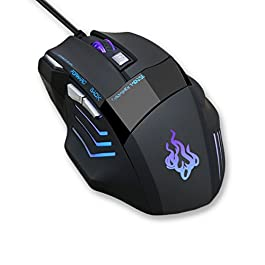 Gaming mouse, QueenDer USB Wired Mouse Professional Ergonomi...