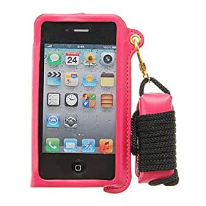 JJE Protective PU Leather Lanyard Wallet Stand Case for iPhone 4s/4(Assorted Color) , Brown