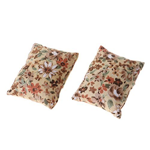 Baoblaze European Style 2 Pieces Floral Cushions Pillow for 1/12 Dollhouse Sofa Bed Accessories Decor Beige