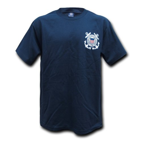 Navy Blue US United States Coast Guard Official Chest Logo T-shirt Size (Us Coast Guard Costumes)
