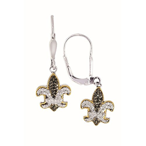 Sterling Silver 18k Yellow Gold Black White Sapphire Fleur De Lis Lever Back Earrings