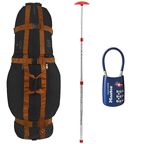Bundle: Club Glove 2017 Golf Travel Bags, Last Bag XL Pro Tour, Black-Copper & 1 TSA Lock & 1 Stiff (Golf Pro Bag)