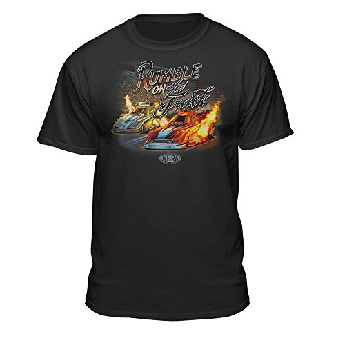 Teelocity NHRA National Hot Rod Association Official Rumble On The Track Men's T-Shirt (Large)