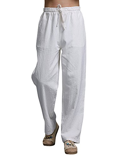 Mens Linen Pants Beach Casual Loose Fit Work Elastic Waist Drawstring Golf Cargo Trousers with ()