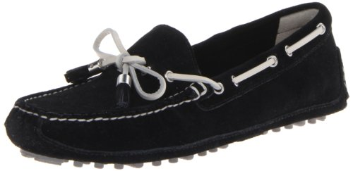 (Cole Haan Women's Grant Moccasin,Black/White Suede,11 B US)