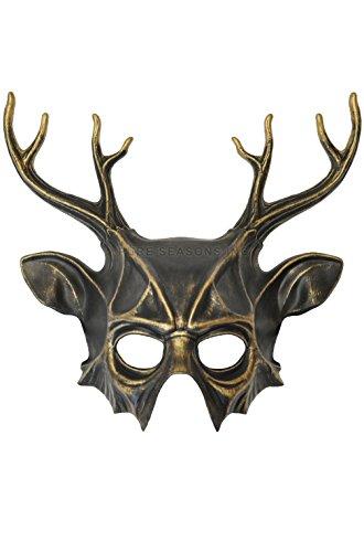 [Mememall Fashion Wicked Deer Head Mardi Gras Masquerade Mask (Gold)] (Dog Costumes For Mardi Gras)