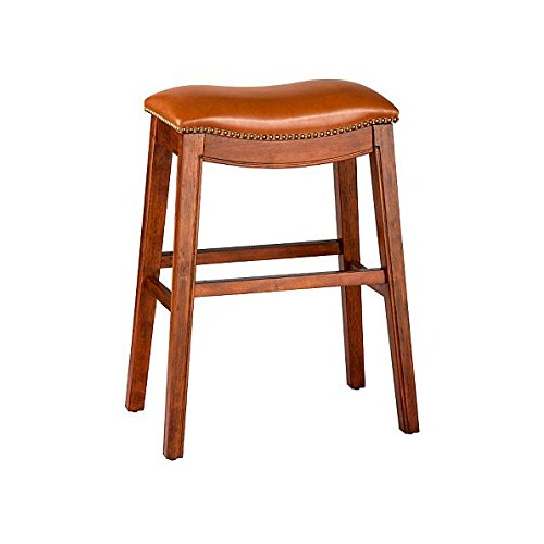 """Price comparison product image Cognac 30"""" Backless Bar Stool Premium Wood Finish Faux Leather Seat Saddle Stool Nailhead Accents"""