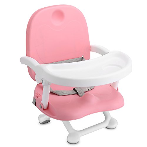 Kidsidol Baby Booster Seat High Chair Adjustable Height Foldable Portable Detachable Tray Safety Belt Steady Anti-Slip Safe Comfortable Suitable for Baby Kids Toddlers Children Over 6 Months (Pink) by Kidsidol