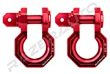 Razer Auto Falcon X Precision Red Billet Aluminum 3.0 Ton D-Ring Bow Shackle 1 Pair 3/4'' - Rugged 3.0 Ton Capacity (Red)