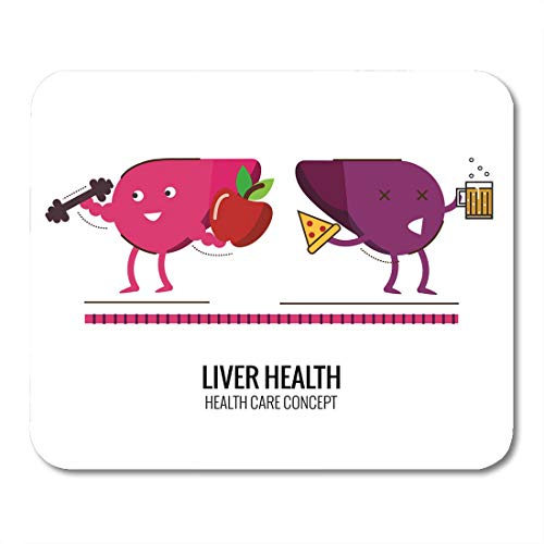 Semtomn Mouse Pad Healthy Liver and Unhealthy Character Danger of Alcoholic Cholesterol Mousepad 9.8