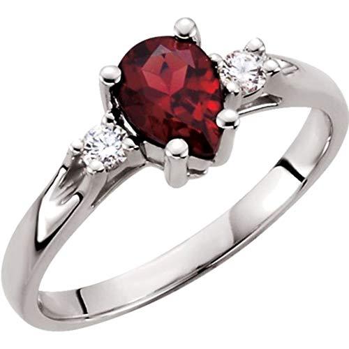 Bonyak Jewelry Genuine Mozambique Garnet & Diamond Ring in 14k White Gold - Size 7 ()