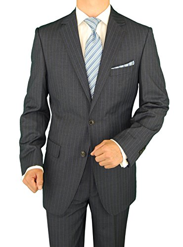 Gino Valentino Men's Two Button Modern Striped Charcoal Suit (54 Long US/64 Long ()