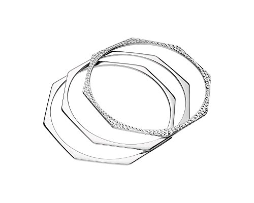 Sterling Silver Set of 3 Geometric Octagon Stacking Bangles with High Polish and Diamond Cut - Octagon Bangle