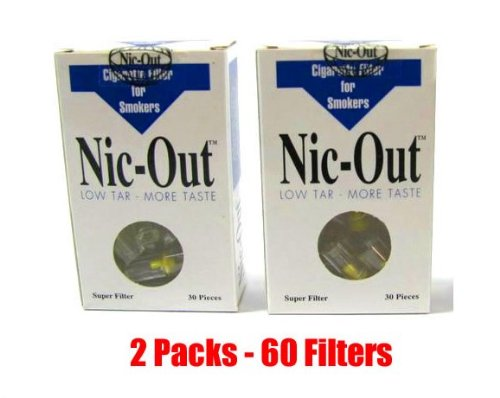 NIC-OUT Cigarette Filters 2 Packs (60 Filters) Smoking Free Tar & Nicotine Disposable Nicout Holders for Smokers DON'T QUIT SMOKING Nicfree (Tar Trap Filters)