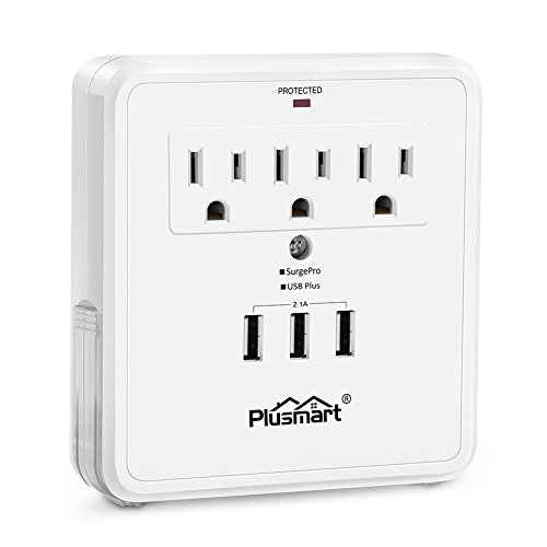 Plusmart Multi Outlet Wall Mount Adapter Surge Protector with 3 USB Charging Ports, 3 Power Outlet Extender and 2 Slide Out Phone Holders, ETL Certified