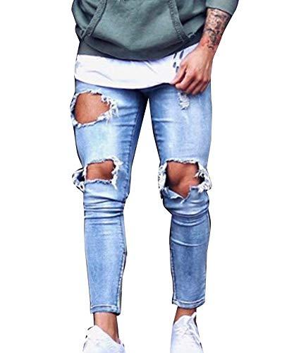 Strappati Uomo Distrutto Elasticizzati Casual Fit Pantaloni Skinny Taglio Guiran Azzurro Jeans ZXYxUddw