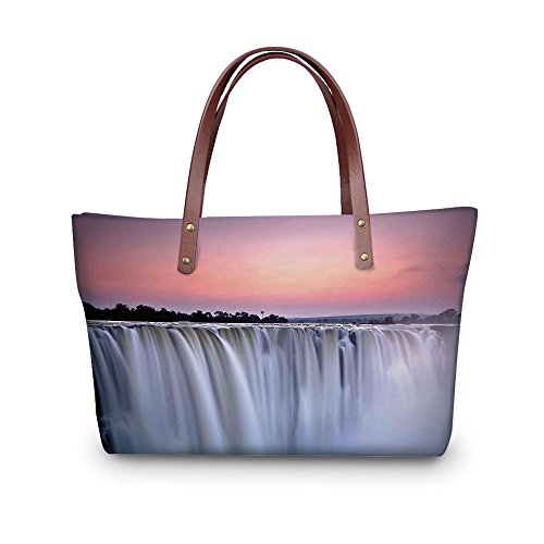 Design the fashion for you Waterproof Women Casual Handbag Tote Bags,Waterfall,Grand Majestic Waterfalls View at Sunset in Africa Wild Mist Exotic Land Photo,White Pink. (Glass Clear Grande Waterfall)