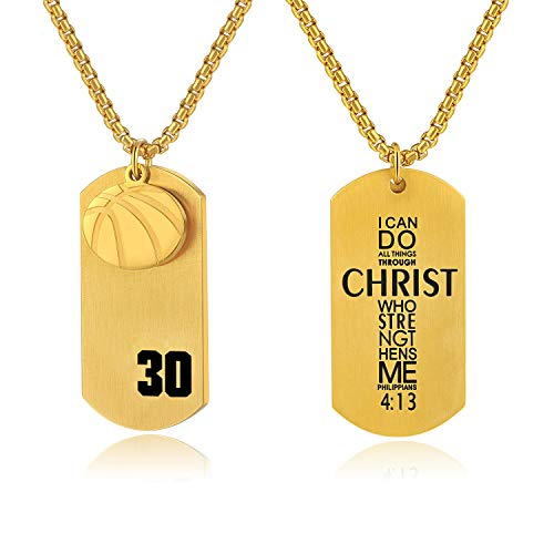 Bible.Shop Boys' Basketball Player Number 30 Stainless Steel Cross Dog Tag Pendant I Can Do All Things Bible Verse Necklace (Gold)