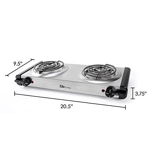 Elite Cuisine Electric Double Coil Burner Hot Plate, Stainless Steel by Maxi-Matic (Image #7)